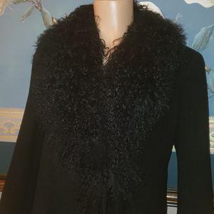 Jackets & Blazers - Curly lamb fur wool cashmere blend car coat